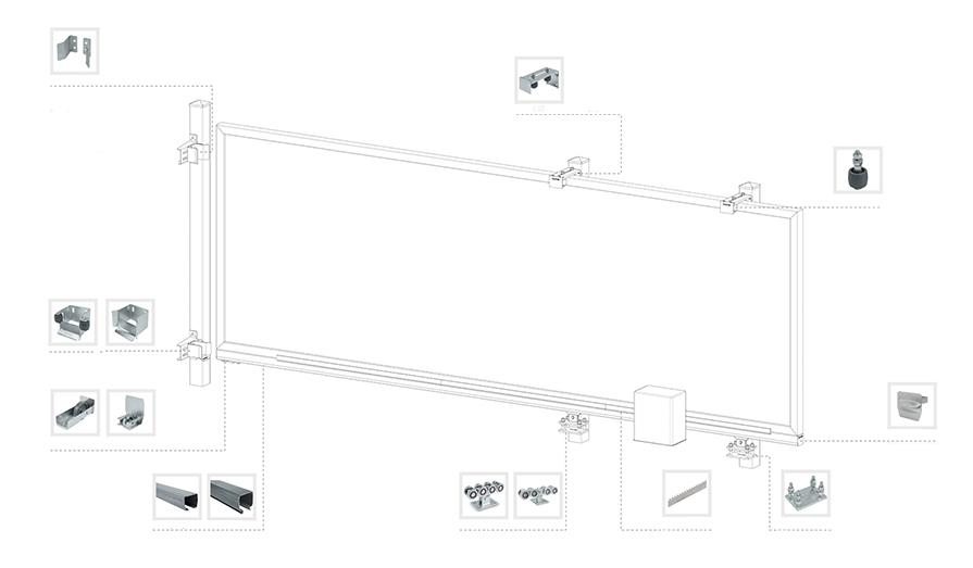 Интерактивная схема системы откатных ворот
